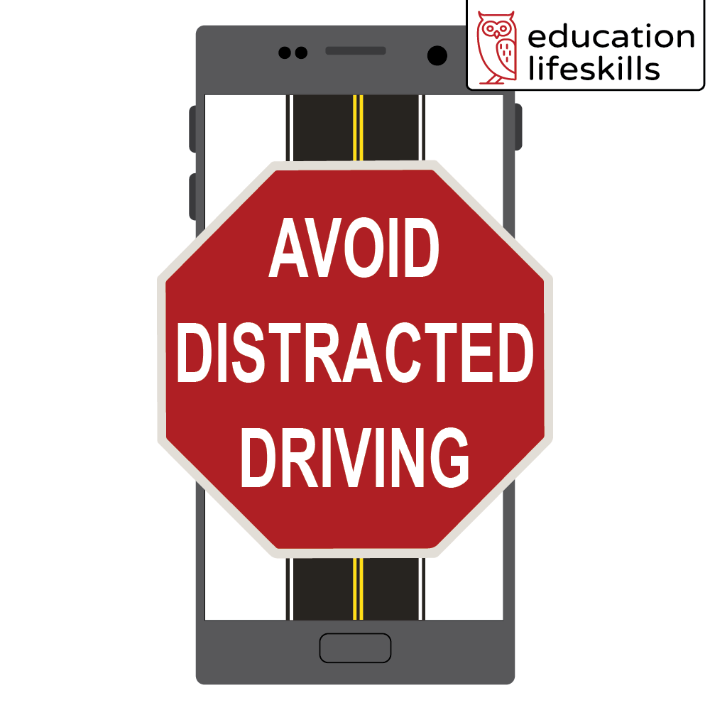 Avoid Distracted Driving Stop Sign